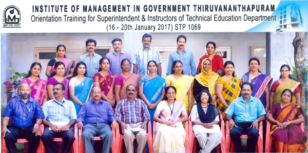 IMG Training for Superintendents & Instructors of Technical Education from 16 to 20 January, 2017